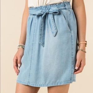 Harper chambray paper bag skirt